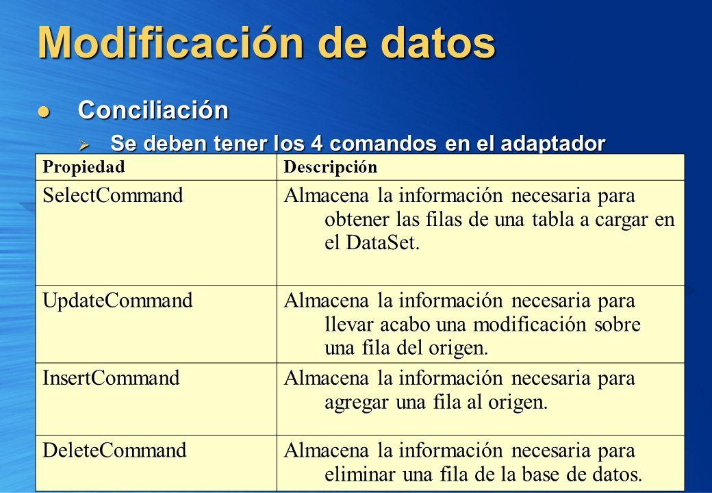 Modificación de datos Conciliación Conciliación Se deben tener los 4 comandos en el adaptador Se deben tener los 4 comandos en el adaptador PropiedadD
