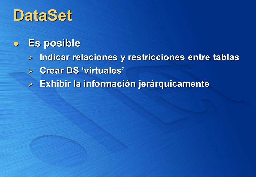 DataSet Es posible Es posible Indicar relaciones y restricciones entre tablas Indicar relaciones y restricciones entre tablas Crear DS virtuales Crear