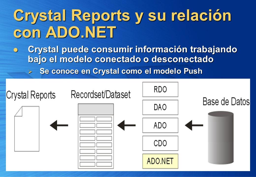 Crystal Reports y su relación con ADO.NET Crystal puede consumir información trabajando bajo el modelo conectado o desconectado Crystal puede consumir