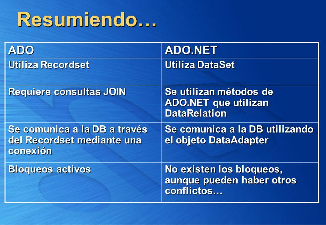 Resumiendo… ADOADO.NET Utiliza Recordset Utiliza DataSet Requiere consultas JOIN Se utilizan métodos de ADO.NET que utilizan DataRelation Se comunica
