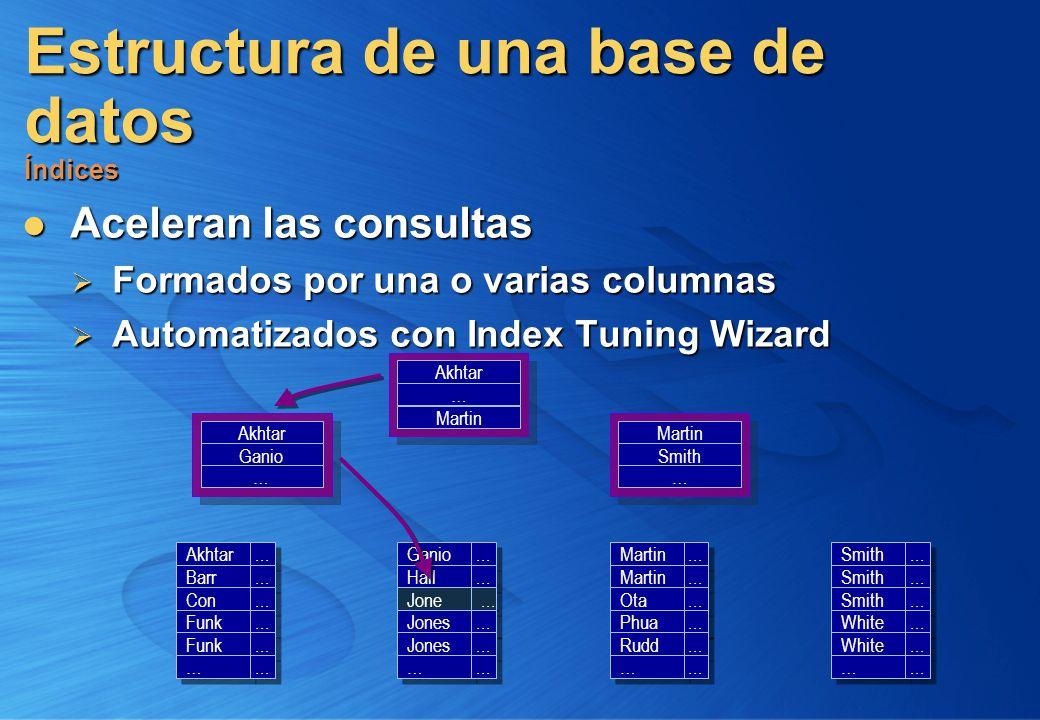 Estructura de una base de datos Índices Aceleran las consultas Aceleran las consultas Formados por una o varias columnas Formados por una o varias col