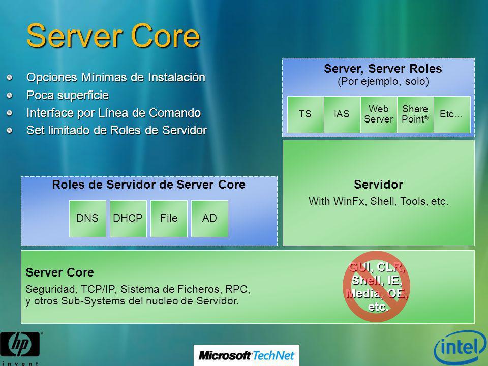 Server Core Opciones Mínimas de Instalación Poca superficie Interface por Línea de Comando Set limitado de Roles de Servidor Roles de Servidor de Serv
