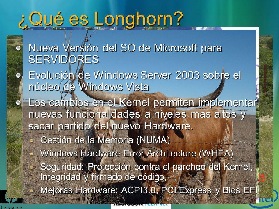 ¿Qué es Longhorn? Nueva Versión del SO de Microsoft para SERVIDORES Evolución de Windows Server 2003 sobre el núcleo de Windows Vista Los cambios en e