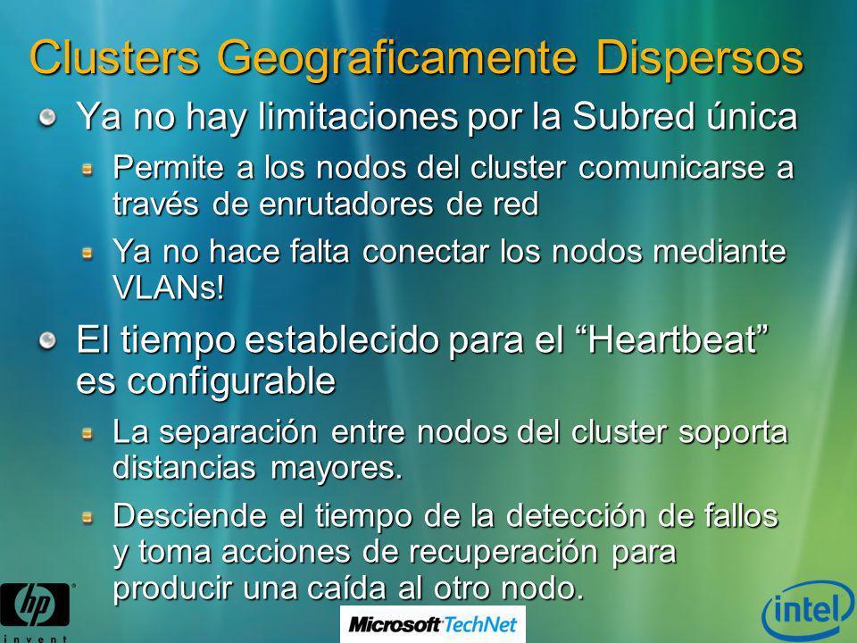 Clusters Geograficamente Dispersos Ya no hay limitaciones por la Subred única Permite a los nodos del cluster comunicarse a través de enrutadores de r