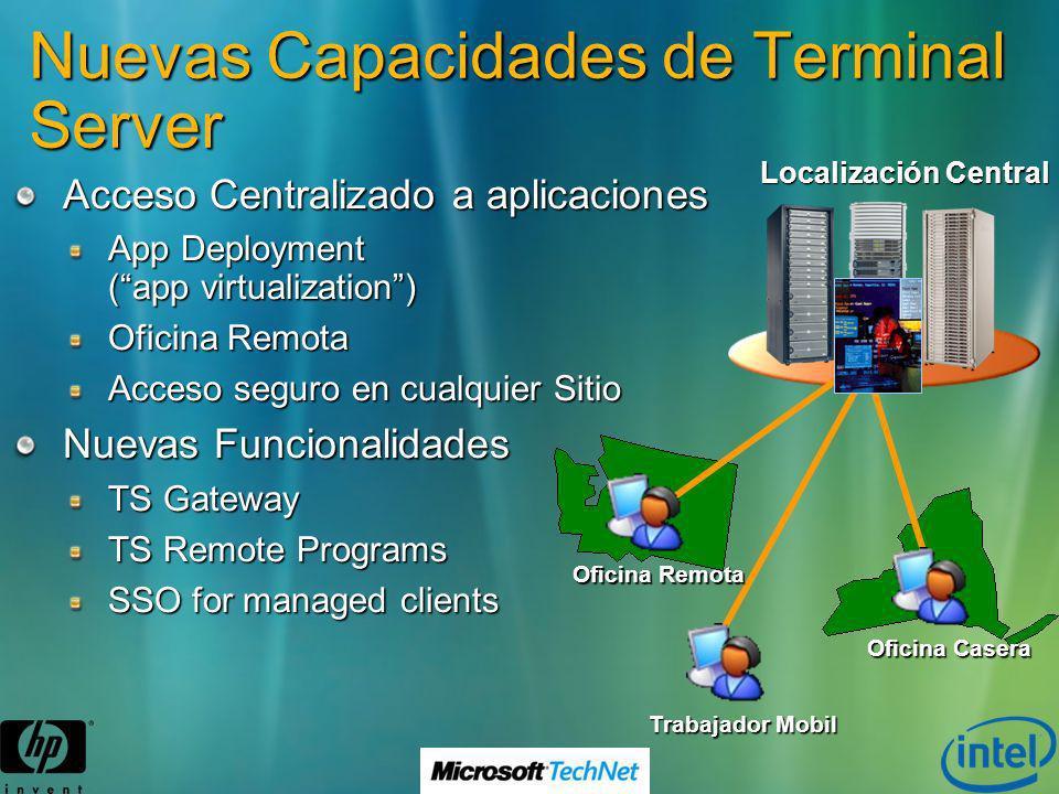 Nuevas Capacidades de Terminal Server Acceso Centralizado a aplicaciones App Deployment (app virtualization) Oficina Remota Acceso seguro en cualquier