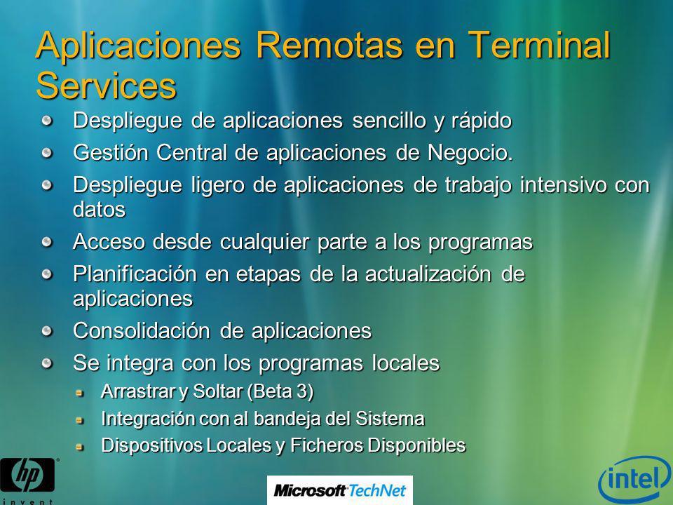 Aplicaciones Remotas en Terminal Services Despliegue de aplicaciones sencillo y rápido Gestión Central de aplicaciones de Negocio. Despliegue ligero d