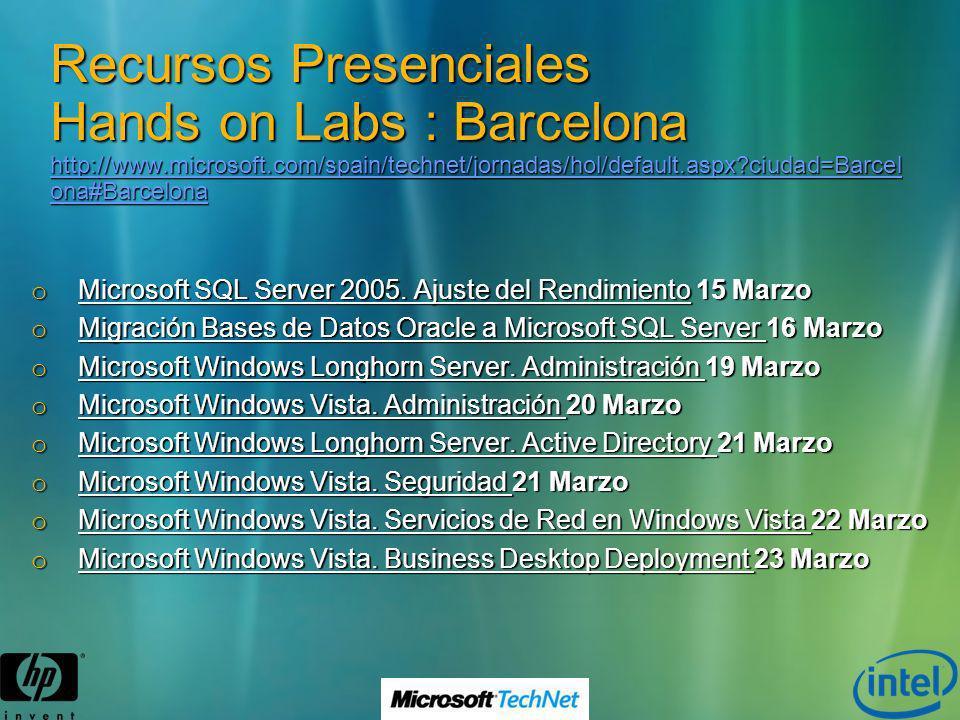 Recursos Presenciales Hands on Labs : Barcelona http://www.microsoft.com/spain/technet/jornadas/hol/default.aspx?ciudad=Barcel ona#Barcelona http://ww