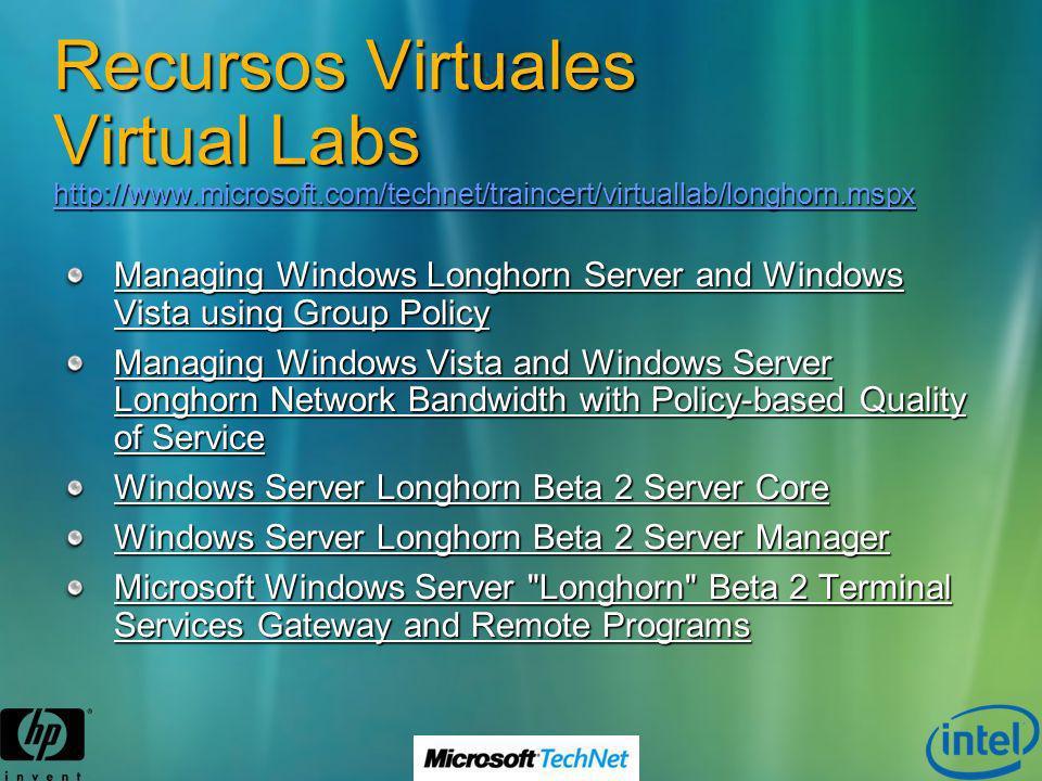 Recursos Virtuales Virtual Labs http://www.microsoft.com/technet/traincert/virtuallab/longhorn.mspx http://www.microsoft.com/technet/traincert/virtual