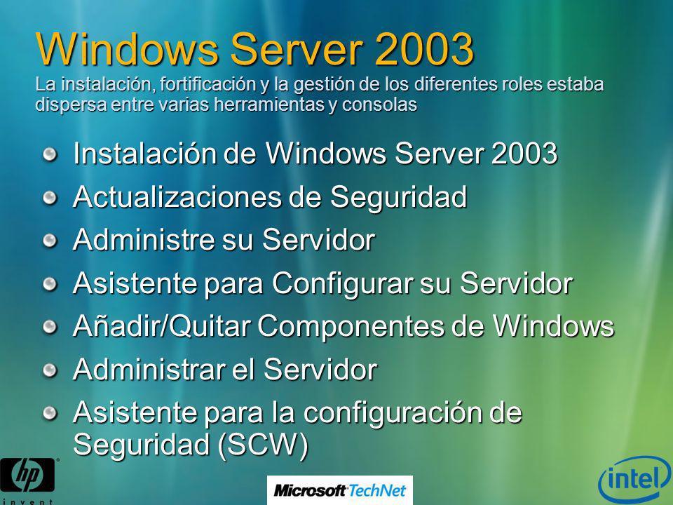 Windows Server 2003 La instalación, fortificación y la gestión de los diferentes roles estaba dispersa entre varias herramientas y consolas Instalació
