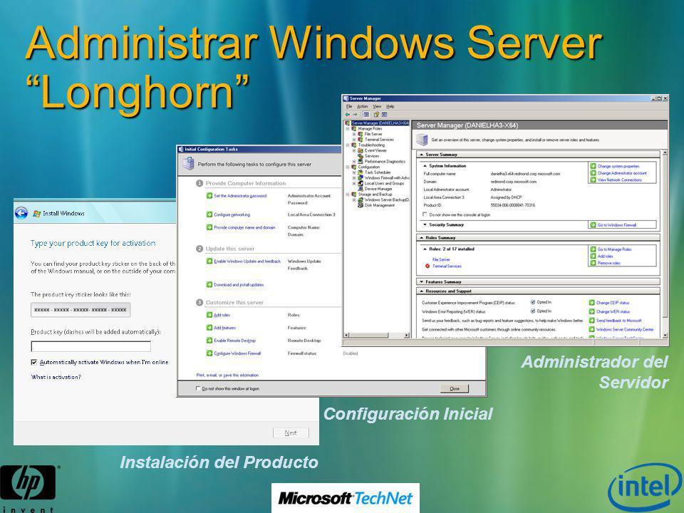 Administrar Windows Server Longhorn Instalación del Producto Configuración Inicial Administrador del Servidor