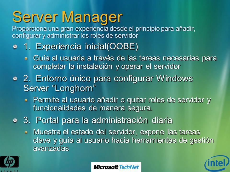 Server Manager Proporciona una gran experiencia desde el principio para añadir, configurar y administrar los roles de servidor 1. Experiencia inicial(