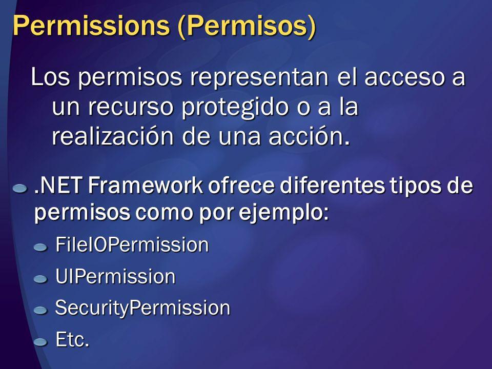 Permission Sets (Conjunto de Permisos) Es una colección de permisos (Permissions) Es posible agrupar a FilePermission y UIPermission en un Permission Set denominado MisPermisos.
