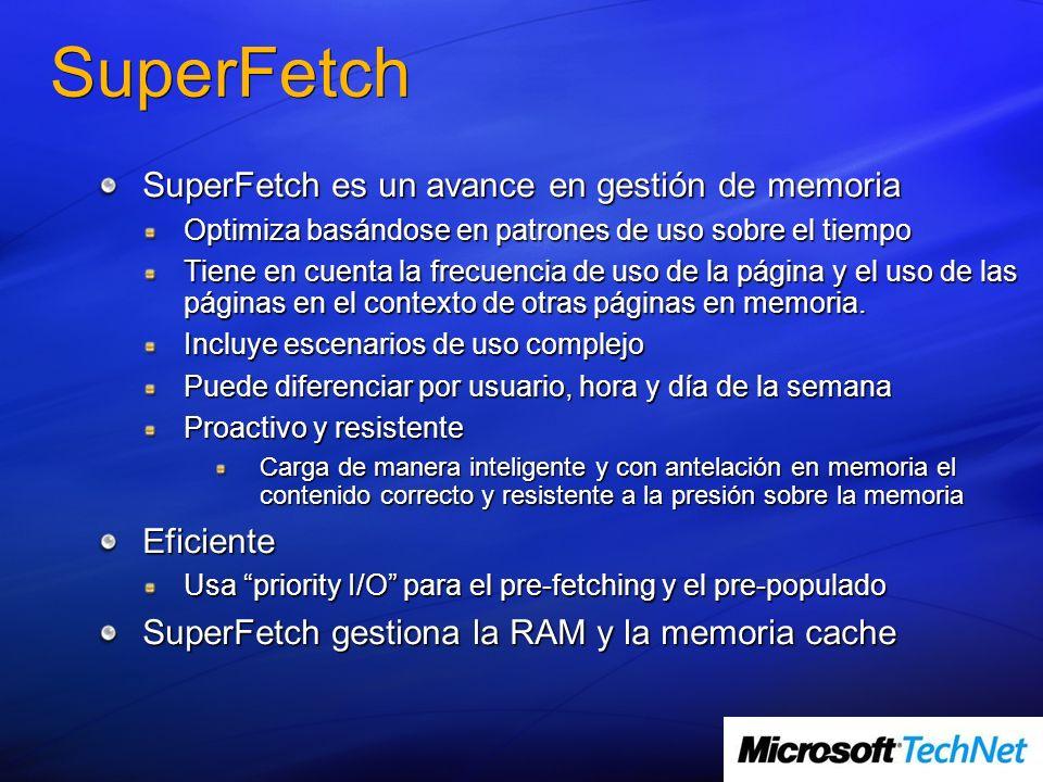 SuperFetch SuperFetch es un avance en gestión de memoria Optimiza basándose en patrones de uso sobre el tiempo Tiene en cuenta la frecuencia de uso de la página y el uso de las páginas en el contexto de otras páginas en memoria.