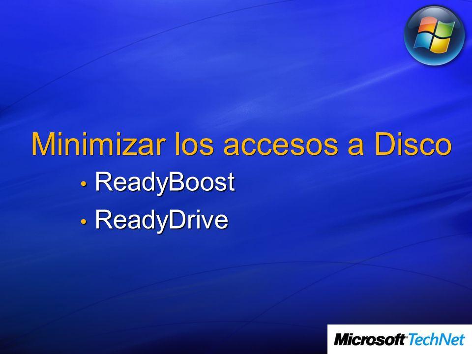 Minimizar los accesos a Disco ReadyBoost ReadyBoost ReadyDrive ReadyDrive