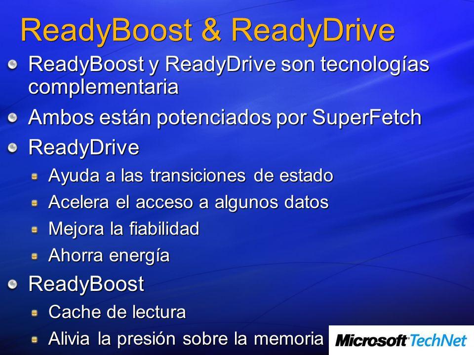 ReadyBoost & ReadyDrive ReadyBoost y ReadyDrive son tecnologías complementaria Ambos están potenciados por SuperFetch ReadyDrive Ayuda a las transiciones de estado Acelera el acceso a algunos datos Mejora la fiabilidad Ahorra energía ReadyBoost Cache de lectura Alivia la presión sobre la memoria