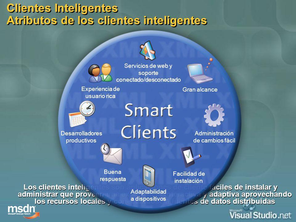 Los clientes inteligentes son aplicaciones de cliente fáciles de instalar y administrar que proveen una experiencia interactiva y adaptiva aprovechand