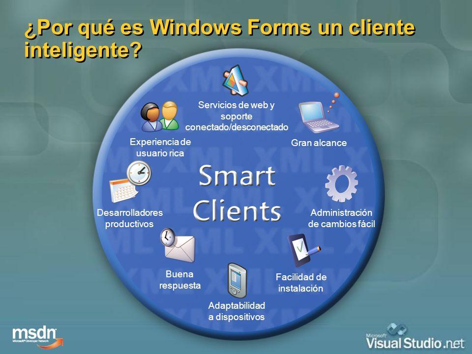 ¿Por qué es Windows Forms un cliente inteligente? Servicios de web y soporte conectado/desconectado Adaptabilidad a dispositivos Experiencia de usuari