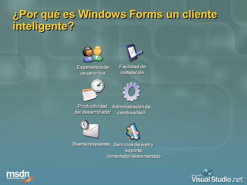¿Por qué es Windows Forms un cliente inteligente? Experiencia de usuario rica Productividad del desarrollador Buena respuesta Servicios de web y sopor