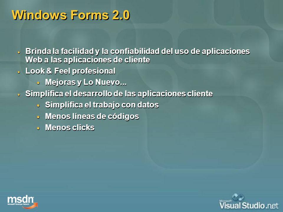 Windows Forms 2.0 Brinda la facilidad y la confiabilidad del uso de aplicaciones Web a las aplicaciones de cliente Look & Feel profesional Mejoras y L