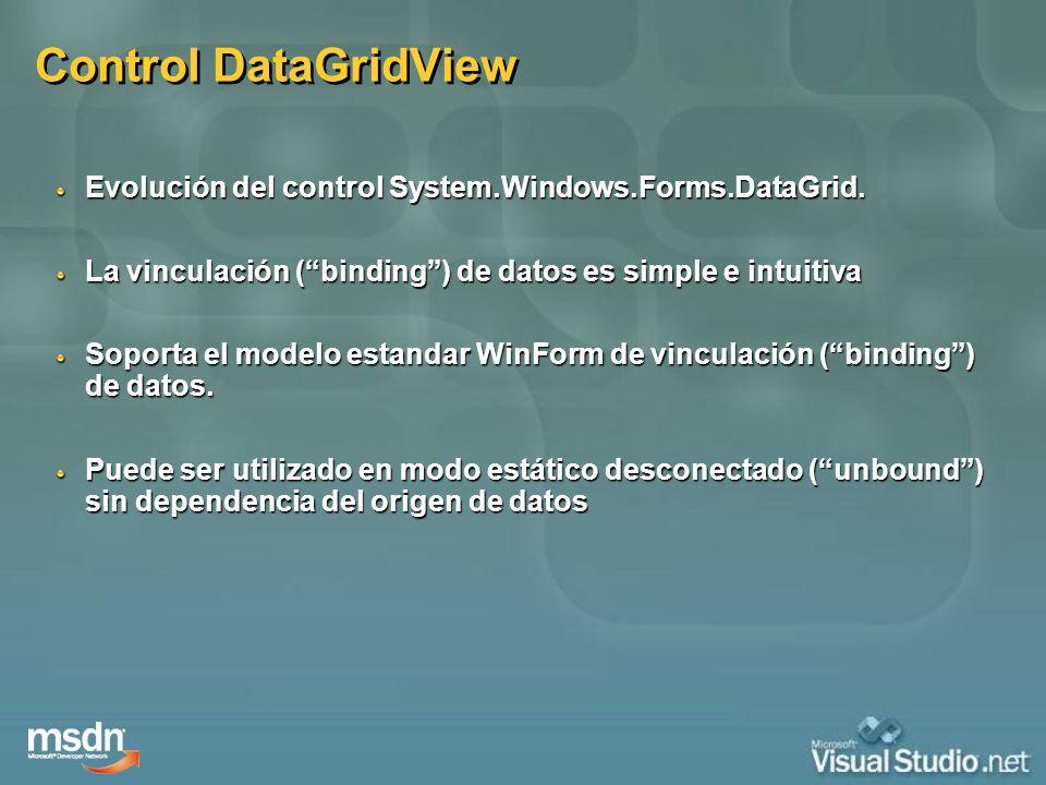 Control DataGridView Evolución del control System.Windows.Forms.DataGrid. La vinculación (binding) de datos es simple e intuitiva Soporta el modelo es