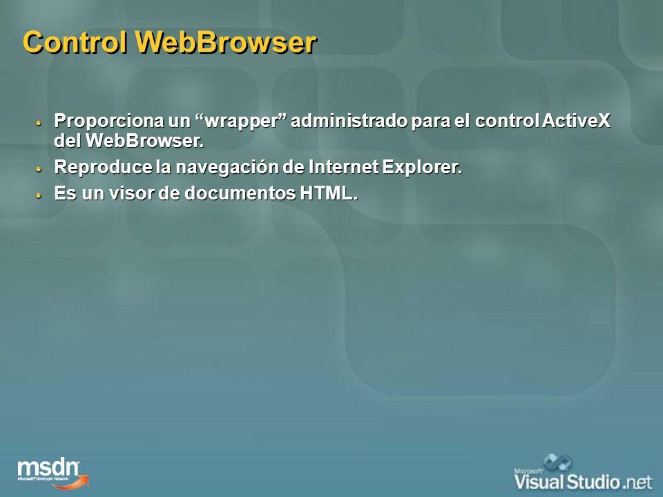 Control WebBrowser Proporciona un wrapper administrado para el control ActiveX del WebBrowser. Reproduce la navegación de Internet Explorer. Es un vis