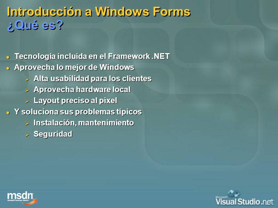 Introducción a Windows Forms Se basa en… Manejo de Eventos Manejo de Eventos Desarrollo basado en Controles Desarrollo basado en Controles Despliegue y Manipulación de Datos Despliegue y Manipulación de Datos Controles Data-Bound Controles Data-Bound Administración de Configuraciones Administración de Configuraciones Distribución de Aplicaciones en los Computadores Clientes Distribución de Aplicaciones en los Computadores Clientes Manejo de Recursos Manejo de Recursos