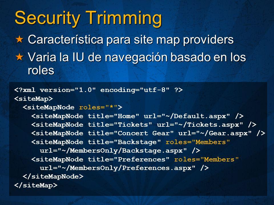 Security Trimming Característica para site map providers Característica para site map providers Varia la IU de navegación basado en los roles Varia la