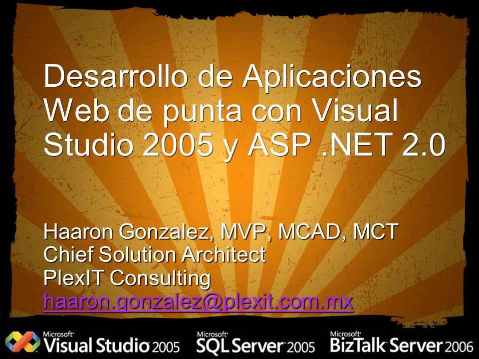 Profiles Haaron Gonzalez, MVP, MCAD, MCT Chief Solution Architect PlexIT Consulting haaron.gonzalez@plexit.com.mx