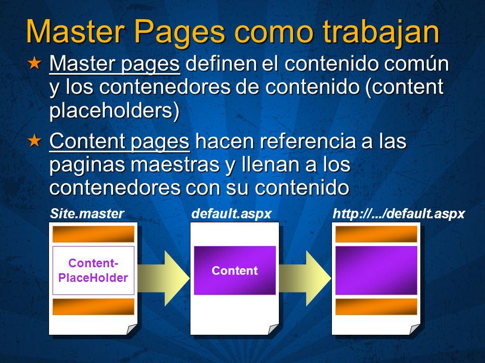 Page.Master Nueva propiedad de System.Web.UI.Page Nueva propiedad de System.Web.UI.Page Provee a una pagina contenido de acceso programático a las pagina maestra Provee a una pagina contenido de acceso programático a las pagina maestra Determina si la pagina tiene asociada una maestra Determina si la pagina tiene asociada una maestra Acceso a los controles definidos en la maestra Acceso a los controles definidos en la maestra Acceso a métodos públicos y propiedades definidas en la maestra Acceso a métodos públicos y propiedades definidas en la maestra Integración a nivel código de las paginas maestras y contenidos Integración a nivel código de las paginas maestras y contenidos