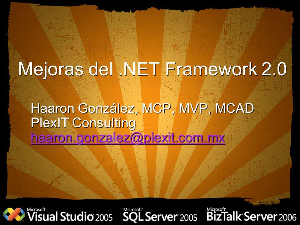Mejoras del.NET Framework 2.0 Haaron González, MCP, MVP, MCAD PlexIT Consulting haaron.gonzalez@plexit.com.mx