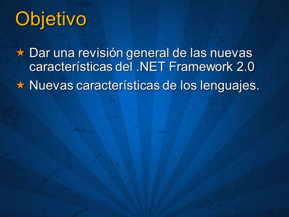 Objetivo Dar una revisión general de las nuevas características del.NET Framework 2.0 Dar una revisión general de las nuevas características del.NET F
