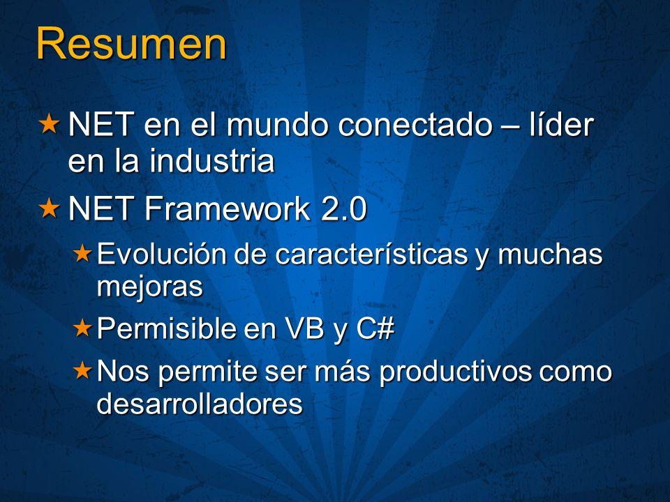 Resumen NET en el mundo conectado – líder en la industria NET en el mundo conectado – líder en la industria NET Framework 2.0 NET Framework 2.0 Evolución de características y muchas mejoras Evolución de características y muchas mejoras Permisible en VB y C# Permisible en VB y C# Nos permite ser más productivos como desarrolladores Nos permite ser más productivos como desarrolladores