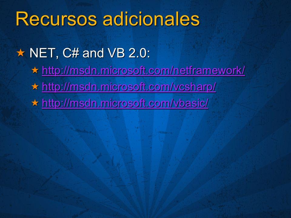 Recursos adicionales NET, C# and VB 2.0: NET, C# and VB 2.0: http://msdn.microsoft.com/netframework/ http://msdn.microsoft.com/netframework/ http://msdn.microsoft.com/netframework/ http://msdn.microsoft.com/vcsharp/ http://msdn.microsoft.com/vcsharp/ http://msdn.microsoft.com/vcsharp/ http://msdn.microsoft.com/vbasic/ http://msdn.microsoft.com/vbasic/ http://msdn.microsoft.com/vbasic/