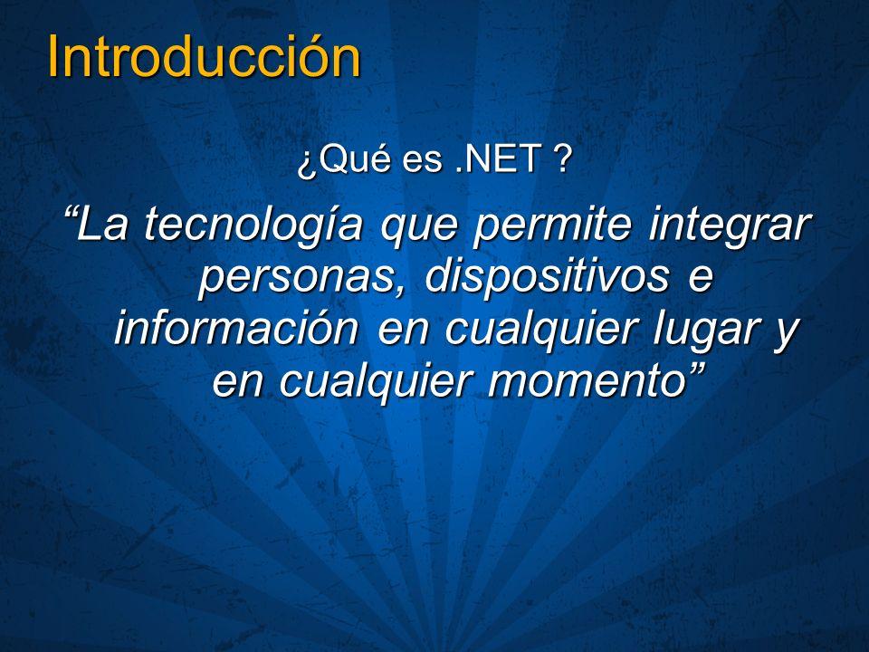 Introducción ¿Qué es.NET ? La tecnología que permite integrar personas, dispositivos e información en cualquier lugar y en cualquier momento