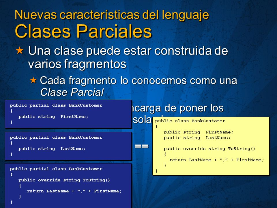 Nuevas características del lenguaje Clases Parciales Una clase puede estar construida de varios fragmentos Una clase puede estar construida de varios