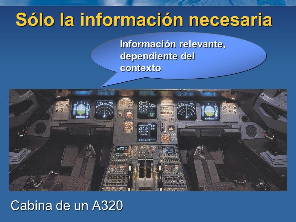 Sólo la información necesaria Cabina de un A320 Información relevante, dependiente del contexto