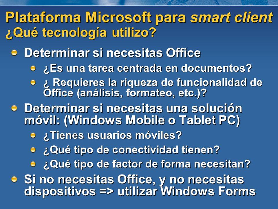 Plataforma Microsoft para smart client ¿Qué tecnología utilizo? Determinar si necesitas Office ¿Es una tarea centrada en documentos? ¿ Requieres la ri