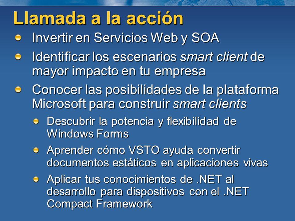 Invertir en Servicios Web y SOA Identificar los escenarios smart client de mayor impacto en tu empresa Conocer las posibilidades de la plataforma Micr