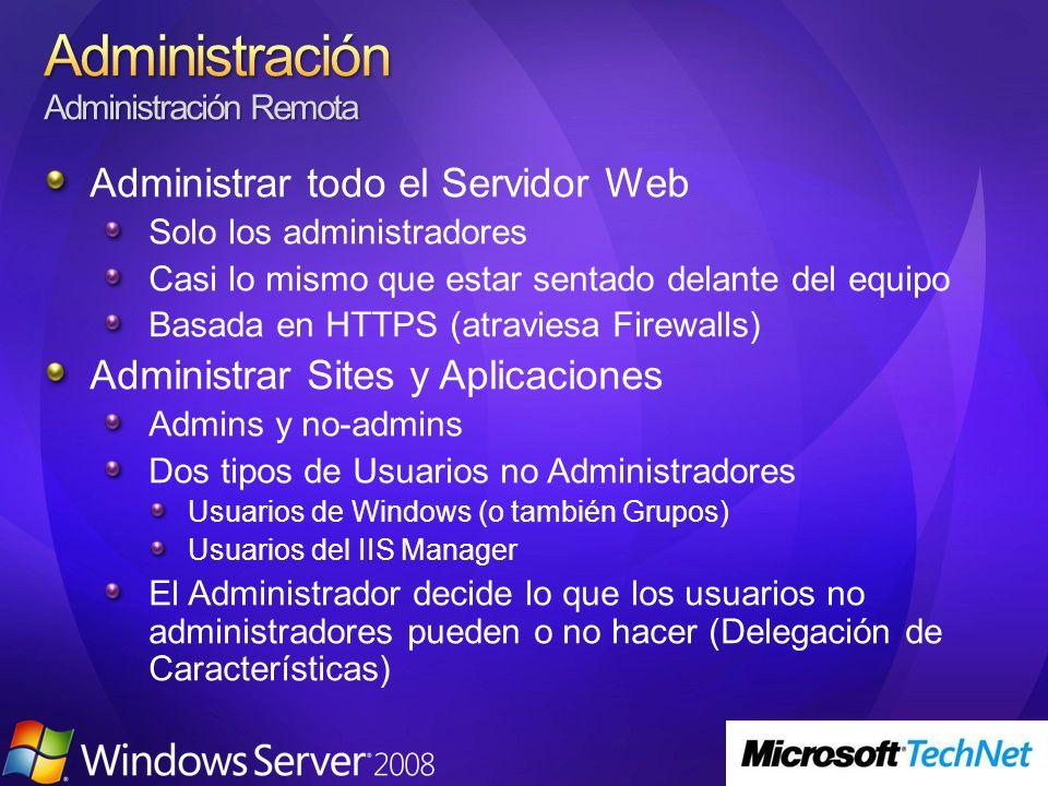 Administrar todo el Servidor Web Solo los administradores Casi lo mismo que estar sentado delante del equipo Basada en HTTPS (atraviesa Firewalls) Administrar Sites y Aplicaciones Admins y no-admins Dos tipos de Usuarios no Administradores Usuarios de Windows (o también Grupos) Usuarios del IIS Manager El Administrador decide lo que los usuarios no administradores pueden o no hacer (Delegación de Características)