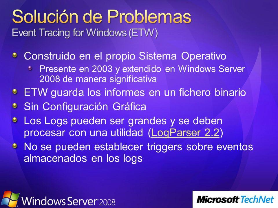 Construido en el propio Sistema Operativo Presente en 2003 y extendido en Windows Server 2008 de manera significativa ETW guarda los informes en un fichero binario Sin Configuración Gráfica Los Logs pueden ser grandes y se deben procesar con una utilidad (LogParser 2.2)LogParser 2.2 No se pueden establecer triggers sobre eventos almacenados en los logs