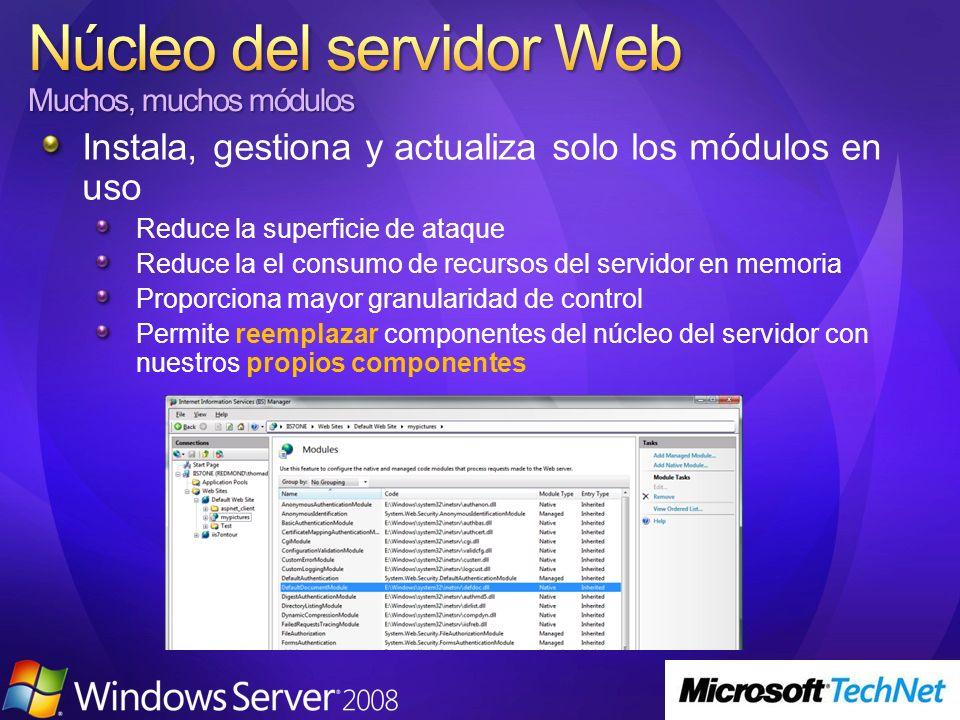 Implementación basada en ISAPI Sólo ve las peticiones ASP.NET Características duplicadas Send Response LogCompress NTLMBasic Determine Handler CGI Static File ISAPI Authentication Anon … … Authentication Forms Windows Map Handler ASPX Trace … … … aspnet_isapi.dll