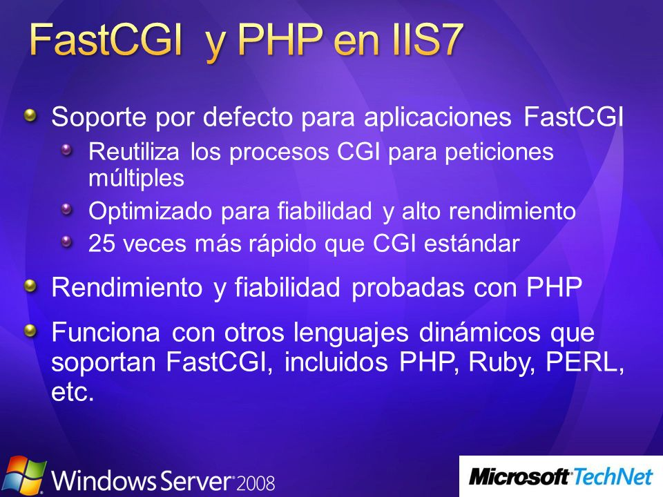 Internet Information Services (IIS) 7.0 (Beta) Technical Library Getting Started With IIS 7.0 IIS 7.0 Architecture Overview of Available Features in IIS 7.0 Using Delegated Administration in the IIS7 Administration Tool Upgrading ASP.NET Applications to IIS 7.0 IIS Administration Tools Common Administrative Tasks Command Line Administration with IIS7--AppCmd.exe Kerberos Authentication for Load-Balanced Web Sites How to Use Request Filtering The New Runtime State and Control API and Failed Request Tracing