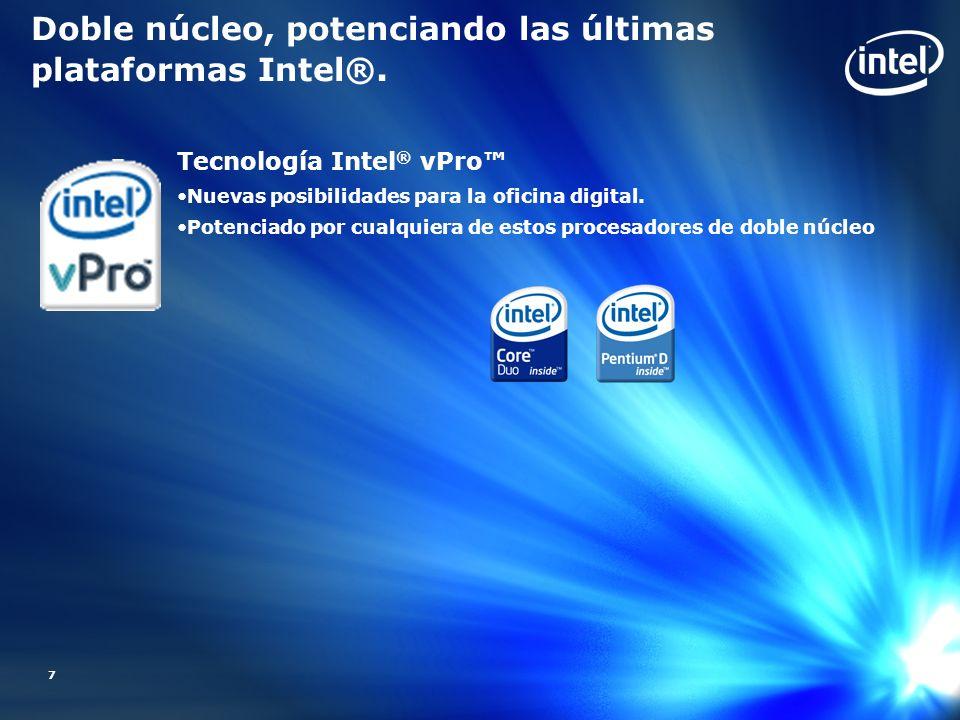 7 Doble núcleo, potenciando las últimas plataformas Intel®. Tecnología Intel ® vPro Nuevas posibilidades para la oficina digital. Potenciado por cualq
