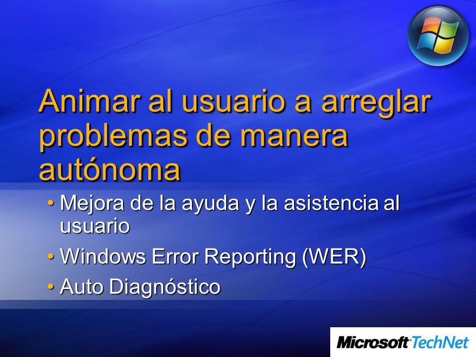Animar al usuario a arreglar problemas de manera autónoma Mejora de la ayuda y la asistencia al usuarioMejora de la ayuda y la asistencia al usuario W