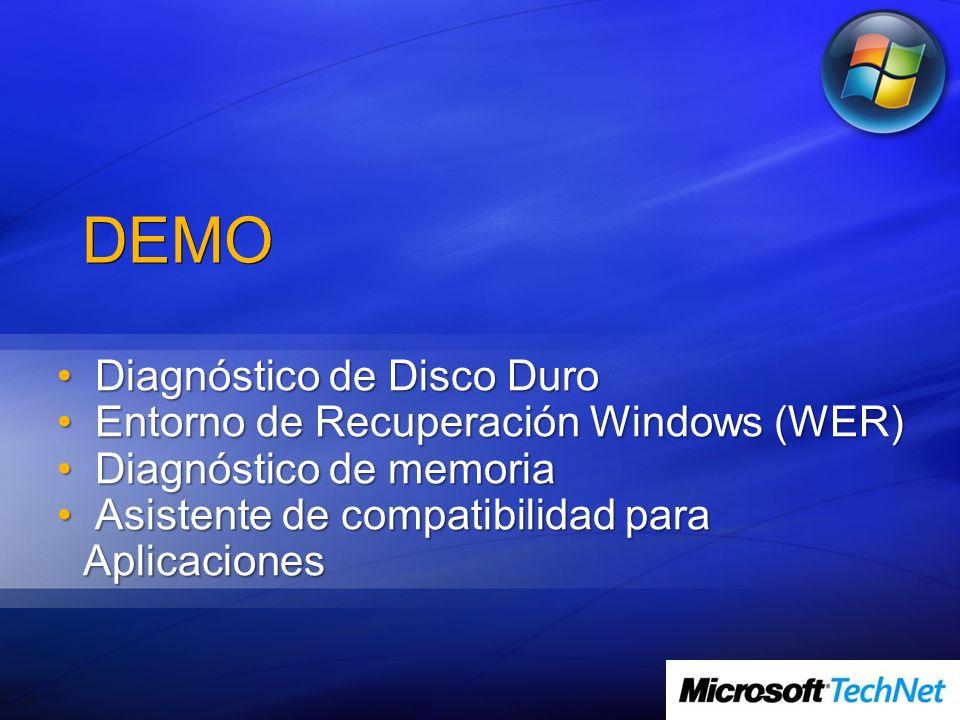 DEMO Diagnóstico de Disco Duro Diagnóstico de Disco Duro Entorno de Recuperación Windows (WER) Entorno de Recuperación Windows (WER) Diagnóstico de me