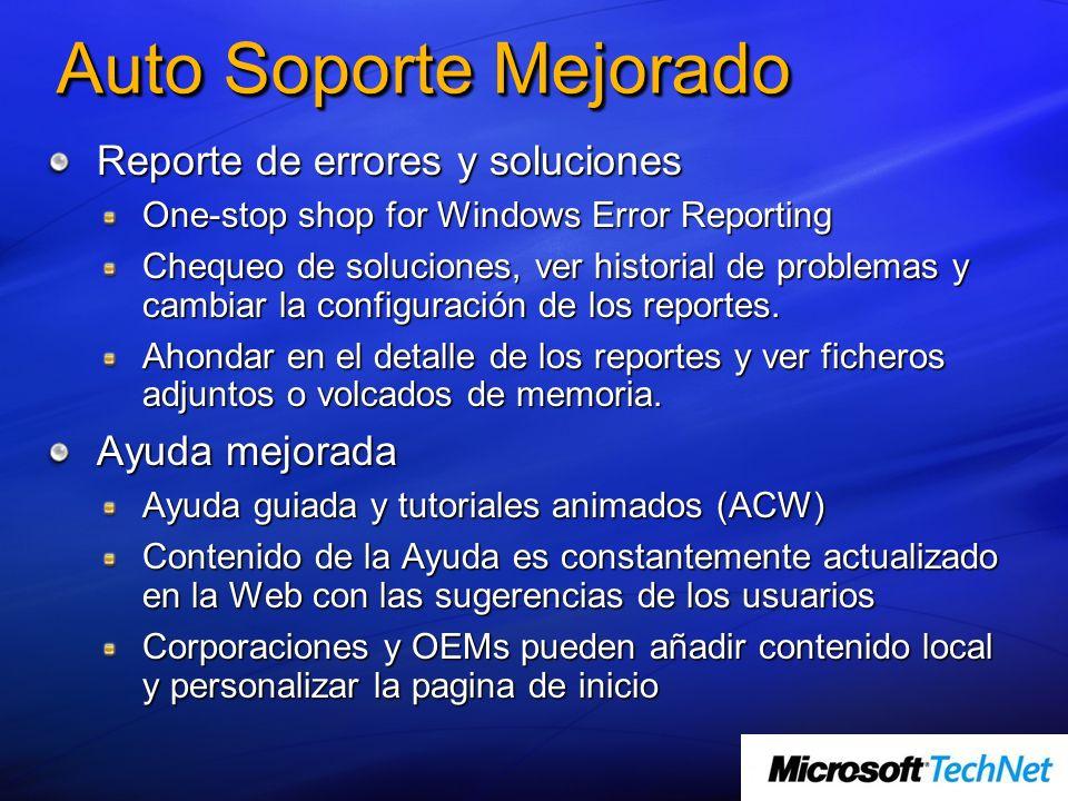 Auto Soporte Mejorado Reporte de errores y soluciones One-stop shop for Windows Error Reporting Chequeo de soluciones, ver historial de problemas y ca