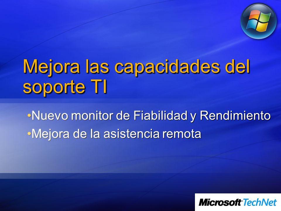 Mejora las capacidades del soporte TI Nuevo monitor de Fiabilidad y RendimientoNuevo monitor de Fiabilidad y Rendimiento Mejora de la asistencia remot