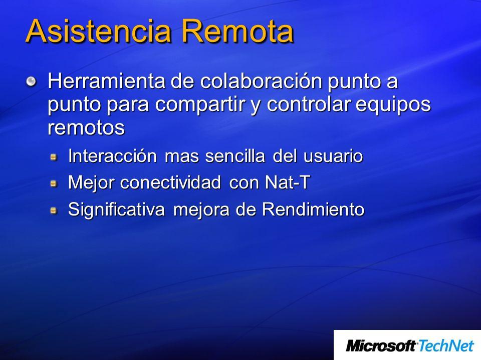 Asistencia Remota Herramienta de colaboración punto a punto para compartir y controlar equipos remotos Interacción mas sencilla del usuario Mejor cone