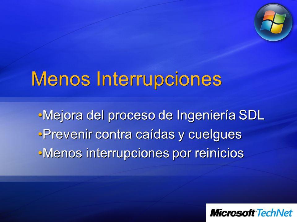 Menos Interrupciones Mejora del proceso de Ingeniería SDLMejora del proceso de Ingeniería SDL Prevenir contra caídas y cuelguesPrevenir contra caídas