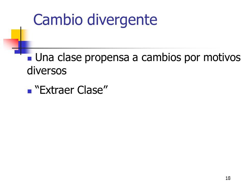 18 Cambio divergente Una clase propensa a cambios por motivos diversos Extraer Clase